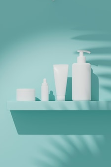 Renderowania 3d makieta kosmetyczny pakiet do pielęgnacji skóry, umieszczony na ścianie pod słońcem.