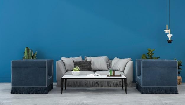 Renderowania 3d makiety do niebieskiej ściany i sofą w salonie z fotelem