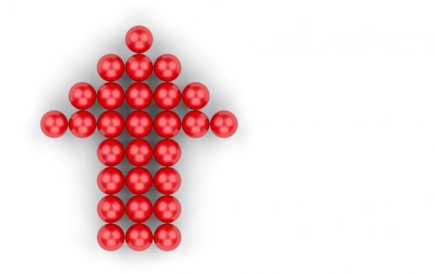Renderowania 3d. mała czerwona grupa kul w kształcie strzałki w górę na białym tle