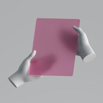 Renderowania 3d manekin trzymając się za ręce gadżet. minimalna koncepcja futurystycznej technologii.