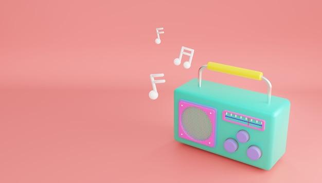 Renderowania 3d. minimalna koncepcja. kreskówka zielony kolorowy retro radio na białym tle na różowym tle pastel.