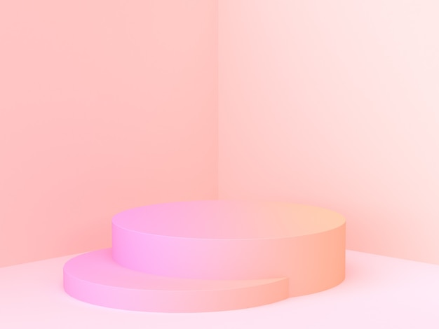 Renderowania 3d minimalne podium gradientu abstrakcyjna sceny rogu ściany