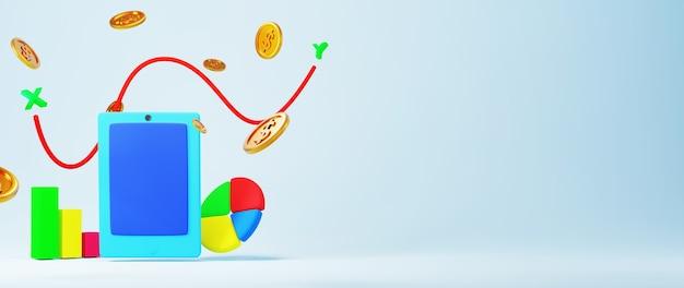 Renderowania 3d mobilnych i złotych monet. zakupy online i e-commerce na internetowej koncepcji biznesowej.