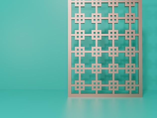 Renderowania 3d monochromatyczne turkusowe i jasne różowe złoto studio strzał tło z ekranem dekoracji w stylu chińskim dla piękna wyświetlania produktów żywności i napojów