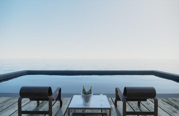 Renderowania 3d. na stole z siedziskami stoją kieliszki i butelki wina. widok na morze od strony basenu.