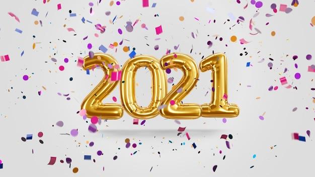 Renderowania 3d napis 2021 ze złotych balonów na białym tle z cukierkami