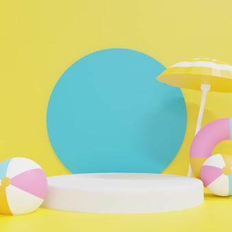 Renderowania 3d niebieski poidum z pastelowymi pontony i parasolem plażowym na żółtym tle