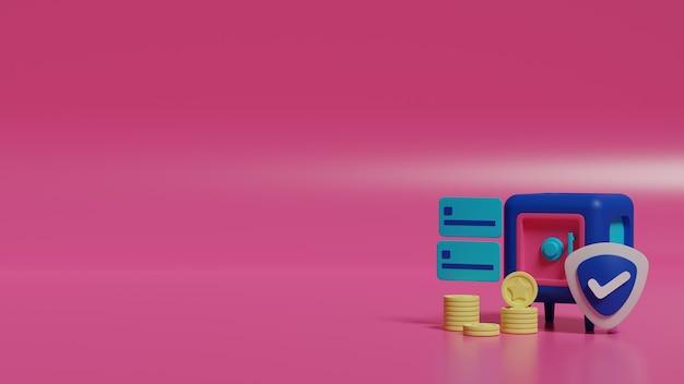 Renderowania 3d niebieski sejf z kartą kredytową