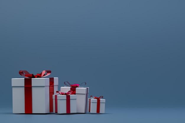 Renderowania 3d, niebieskie tło kolorowe realistyczne pudełko z kolorową kokardką na pustej przestrzeni