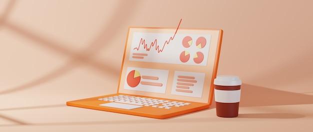 Renderowania 3d notebooka. business online mobile i e-commerce na koncepcji zakupów w sieci.