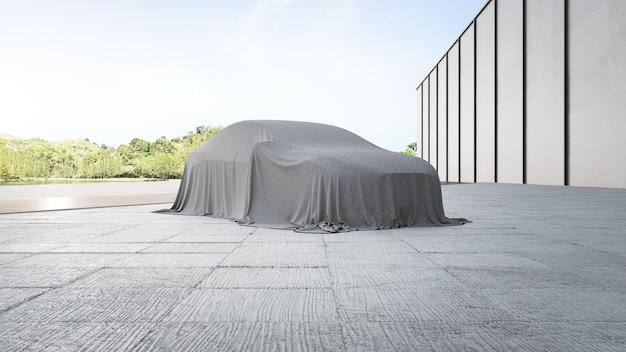 Renderowania 3d nowego samochodu pokrytego szmatką
