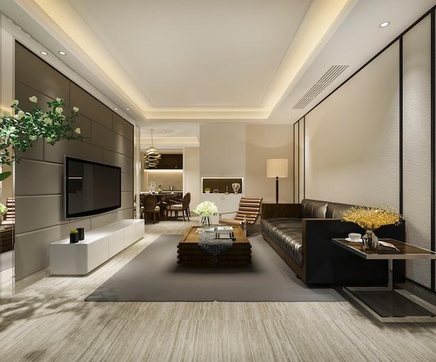Renderowania 3d nowoczesną jadalnię i salon z luksusowym wystrojem i skórzaną sofą
