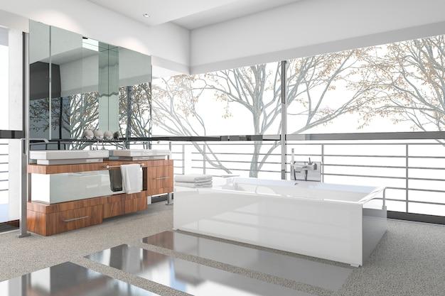 Renderowania 3d nowoczesna minimalna łazienka z skandynawskim wystrojem i ładnym widokiem przyrody z okna