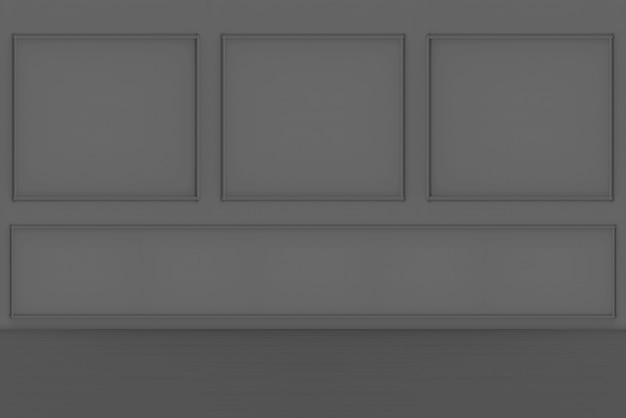Renderowania 3d. nowoczesne ciemne luksusowe klasyczne kwadratowe ramki ścienne i drewniane podłogi projekt tła.