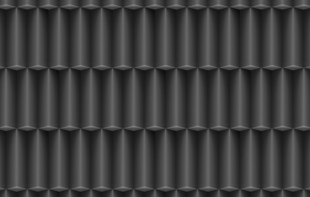 Renderowania 3d. nowoczesne pionowe ciemne długie kostki pole stos wierszy ściany tło.