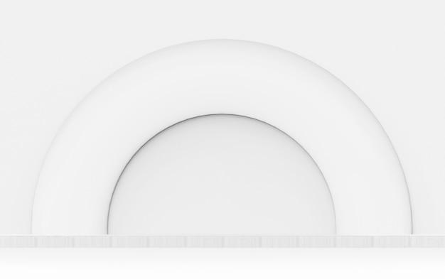 Renderowania 3d. nowoczesne pół biały okrągły kształt ściany projekt tło.