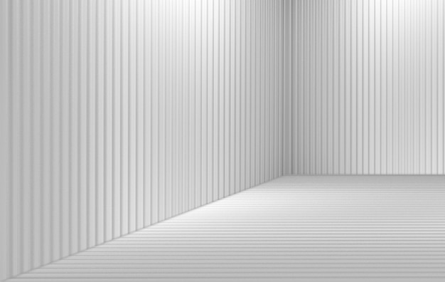 Renderowania 3d. nowoczesne szare panele paski wzór rogu ściany pokoju tekstury.