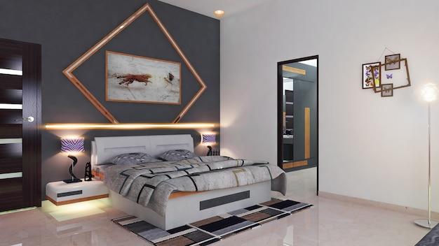 Renderowania 3d nowoczesne wnętrze domu