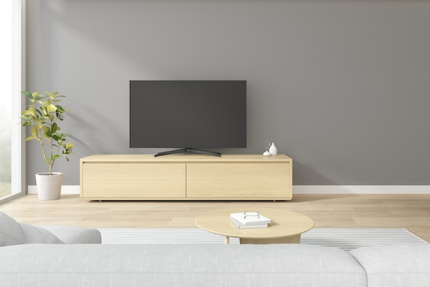 Renderowania 3d nowoczesnego salonu z sofą i telewizorem na drewnianej szafce.