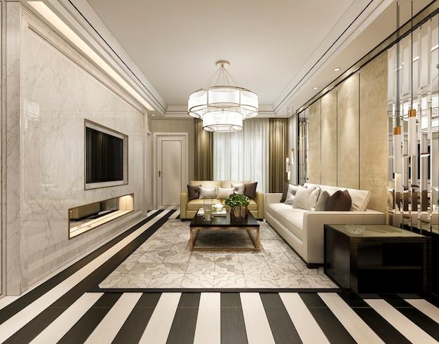 Renderowania 3d nowoczesny klasyczny salon z luksusowym wystrojem i pasiastą podłogą