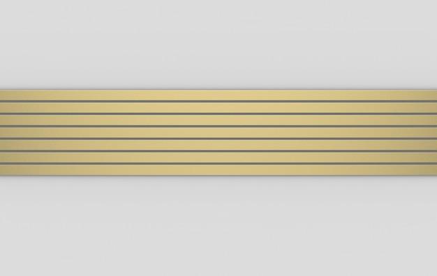 Renderowania 3d. nowoczesny luksus złoty poziomy pasek wzór na szarym tle.