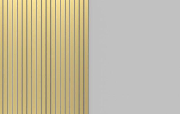 Renderowania 3d. nowoczesny luksus złoty wzór pionowy pasek na szarym tle.