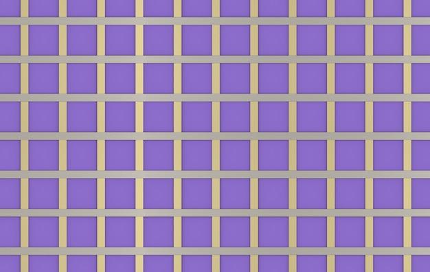 Renderowania 3d. nowoczesny metalowy pasek w sztuce wzór kwadratowy kształt na fioletowym tle ściany.