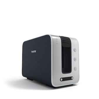 Renderowania 3d nowoczesny toster pusty na białym tle