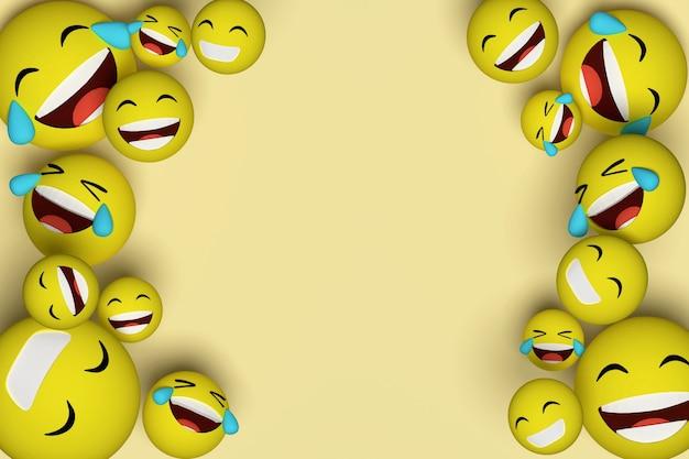 Renderowania 3d. obiekt emotikonów uśmiech i śmiech
