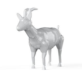 Renderowania 3d odrobina wielokąta kozy na białym tle