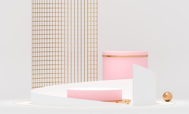 Renderowania 3d okrągła geometria podium z białymi i złotymi elementami.