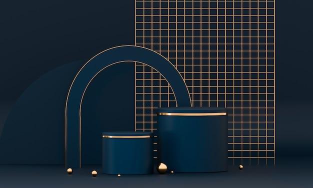 Renderowania 3d okrągła geometria podium z elementami niebieskimi i złotymi