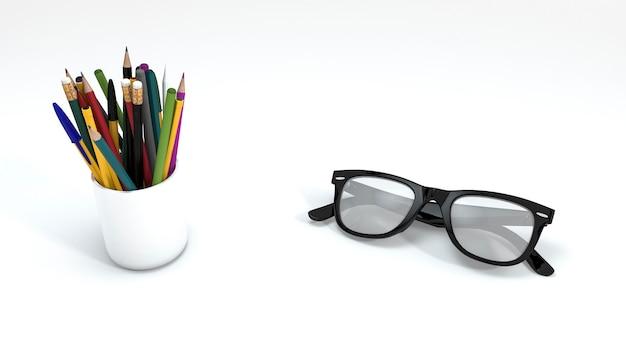Renderowania 3d ołówek koloru i okularów na białym tle