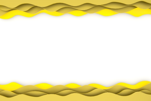 Renderowania 3d papieru cięcia fali żółty wzór