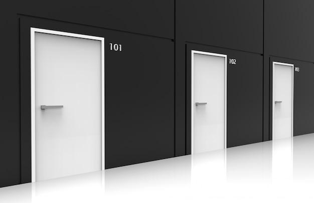 Renderowania 3d. perspektywiczny widok mieszkaniowych białych drzwi wierszy na ścianie czarny cement.