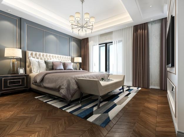 Renderowania 3d piękny klasyczny luksusowy apartament sypialnia w hotelu z telewizorem