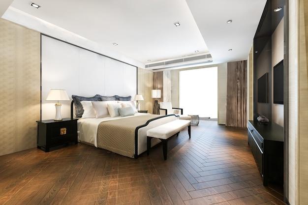 Renderowania 3d piękny luksusowy apartament w hotelu z telewizorem i stołem roboczym