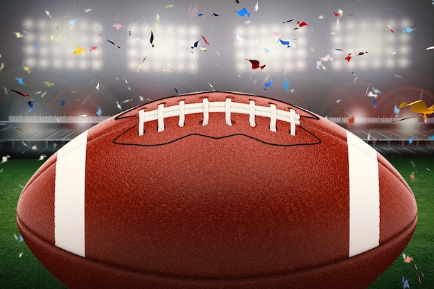 Renderowania 3d piłka do futbolu amerykańskiego z błyszczącym światłem i tłem konfetti