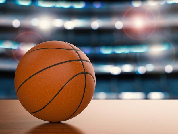Renderowania 3d piłka do koszykówki na drewnianej podłodze z tłem stadionu