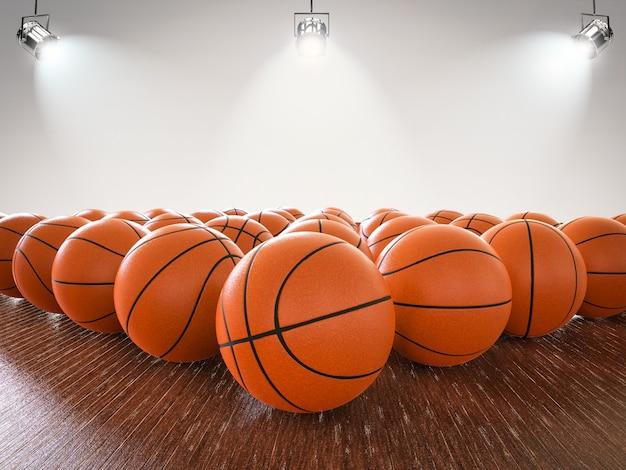 Renderowania 3d piłki do koszykówki na drewnianej podłodze ze świecącymi światłami