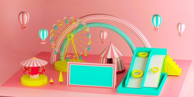 Renderowania 3d placu zabaw dla dzieci