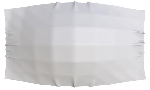Renderowania 3d. płynące szare tkaniny tkaniny ze ścieżką przycinającą na białym tle.
