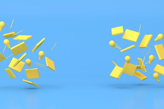 Renderowania 3d pływającej żółtej książki i ołówka, żarówki.