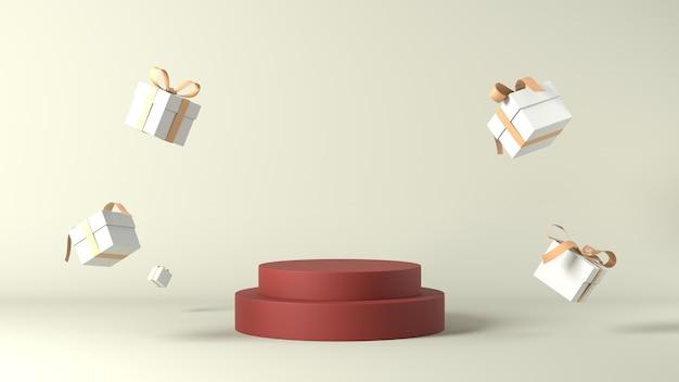 Renderowania 3d podium z prezentami świątecznymi