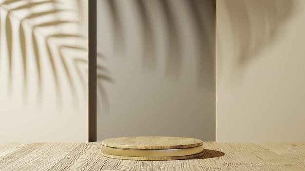 Renderowania 3d podium ze złotymi paskami do wyświetlania produktów na drewnianym stole z tłem cienia liści. makieta produktu pokazowego.