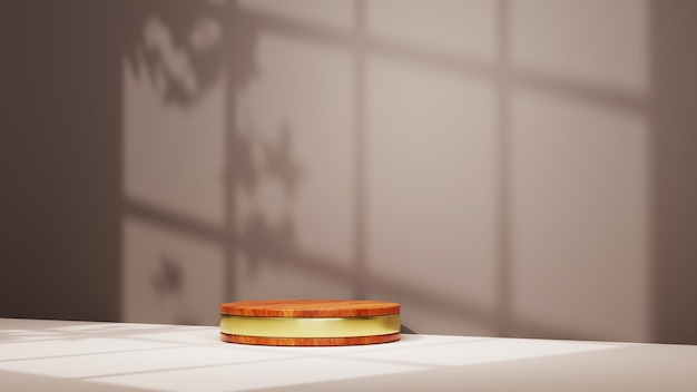 Renderowania 3d podium ziarna drewna ze złotymi paskami i cieniami okien na tle ściany. makieta produktu pokazowego.
