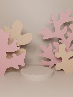 Renderowania 3d podwodny motyw papieru wyciąć koral i wodorosty tło wyświetlania produktu do pielęgnacji skóry zdrowie i produkty medyczne różowe i beżowe kolory