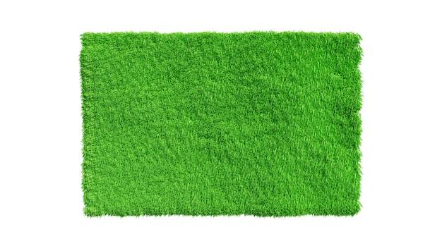 Renderowania 3d. pole trawa zielona na białym tle do projektowania architektury.