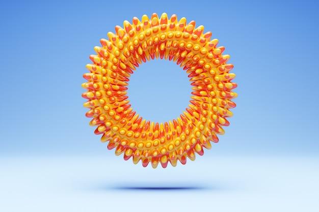Renderowania 3d pomarańczowy pryszcz, fraktal, portal na niebieskim tle na białym tle