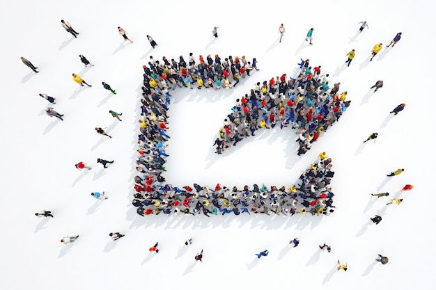 Renderowania 3d postaci osób symbol akcji